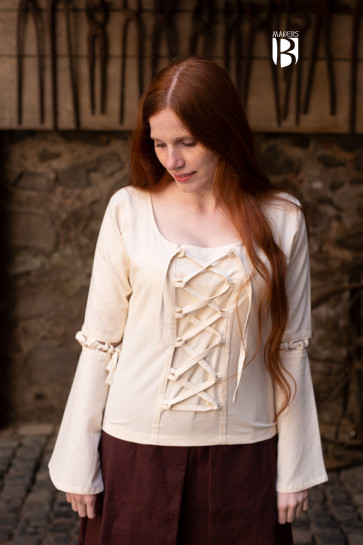 Natural white short blouse Ely