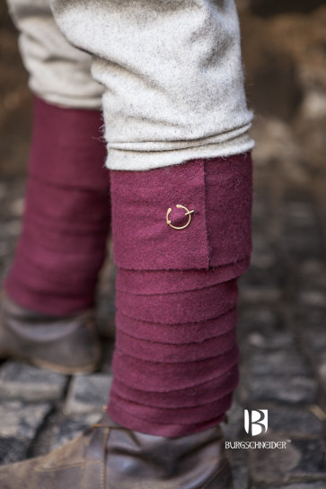 Red wool Puttees with small Brooches by Burgschneider