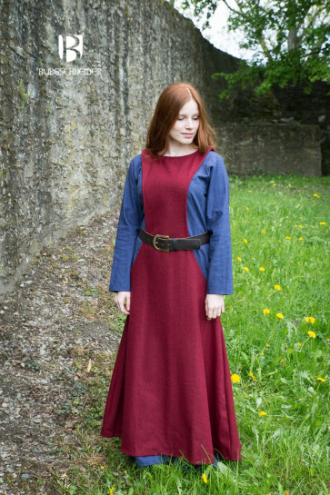Medieval Garment for Viking Women with Grey Surcot and long sleeve underdress